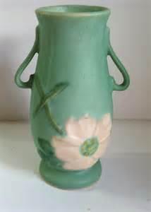 Green Glass Vases Antique Weller Pottery Wild Rose Vase By Nldvintage On Etsy