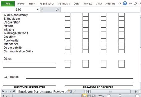 6 employee performance review template excel exceltemplates