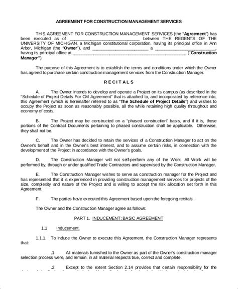 Construction Service Agreement Template 8 Sle Construction Management Agreements Sle Templates