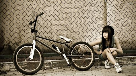 wallpaper girl with bike athletic girl with a bicycle wallpapers and images