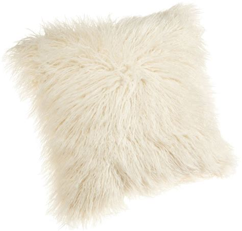 White Fluffy Throw Pillows Brentwood 18 Inch Mongolian Faux Fur Pillow White Fluffy