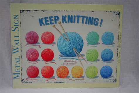 knitting signs keep knitting large metal wall sign
