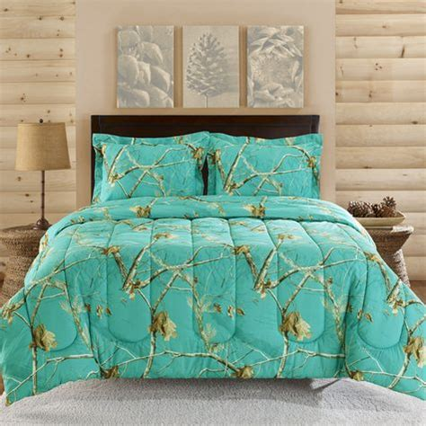 realtree teal blue camo comforter set