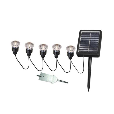 Shop Kenroy Home 5 Light Black 0 1 Watt Led Path Light Kit Solar Landscape Lighting Kits