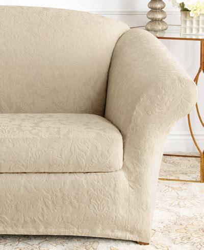 white stretch sofa slipcover sure fit stretch sofa jacquard damask 2 piece sofa