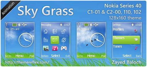 nokia 110 clock themes software sky grass animated theme for nokia 110 112 c1 01 128