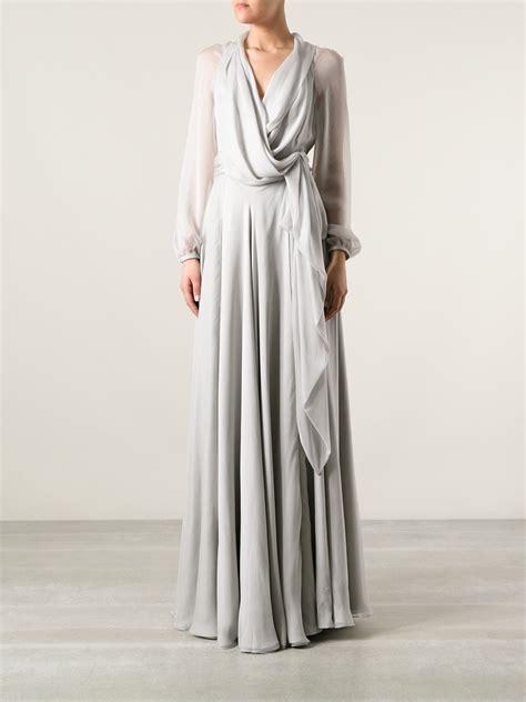grey draped dress saint laurent full length draped dress in gray grey lyst