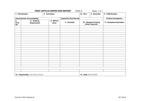 first article inspection approval form template southfai