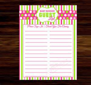 Baby Shower Sign In Sheet Template by Baby Shower Guest List Template 8 Free Word Excel Pdf