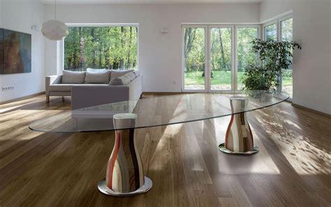 basi per tavoli in cristallo tavolo ovale 2 basi in legno piano in cristallo idfdesign