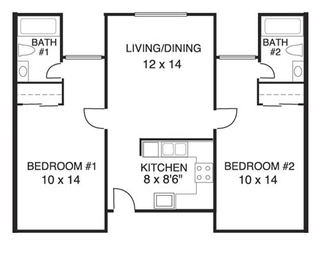 beautiful best 2 bedroom 2 bath house plans for kitchen bedroom ceiling floor