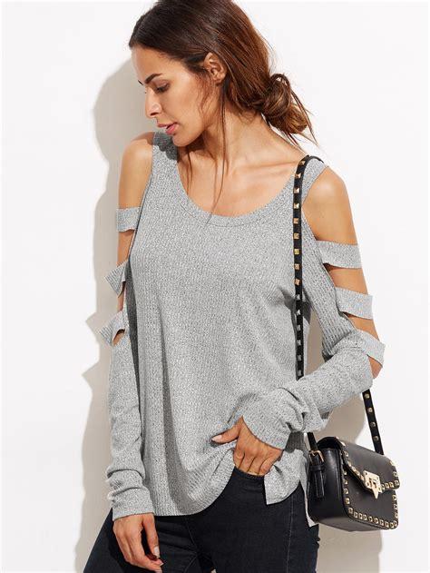 Sleeve Cutout Shirt grey cold shoulder ladder cutout sleeve t shirt
