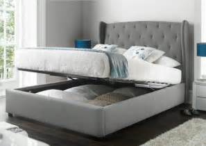 Bed With Storage Richmond Upholstered Winged Ottoman Storage Bed Ottoman