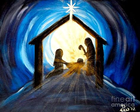 christmas manger glory painting by diane wigstone