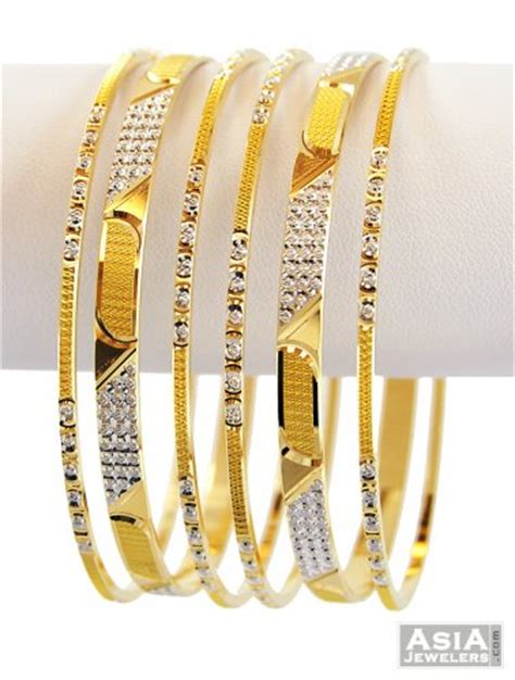 Designer Gold Bangles Set (6 pcs)   AjBa57301   22k gold bangles set (6 pcs), beautifully