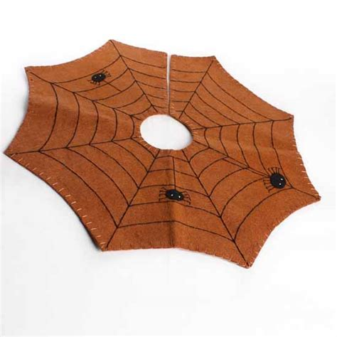harvest orange stitched fall halloween spiderweb tree