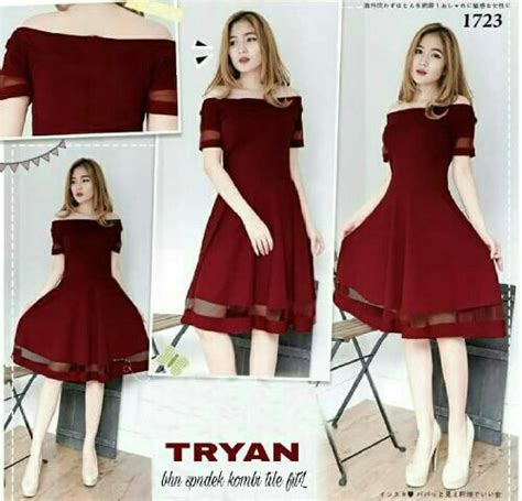 Ethnica Dress Maroon Longdress Merah Marun Baju Wanita baju dress sabrina pendek warna merah maroon model terbaru