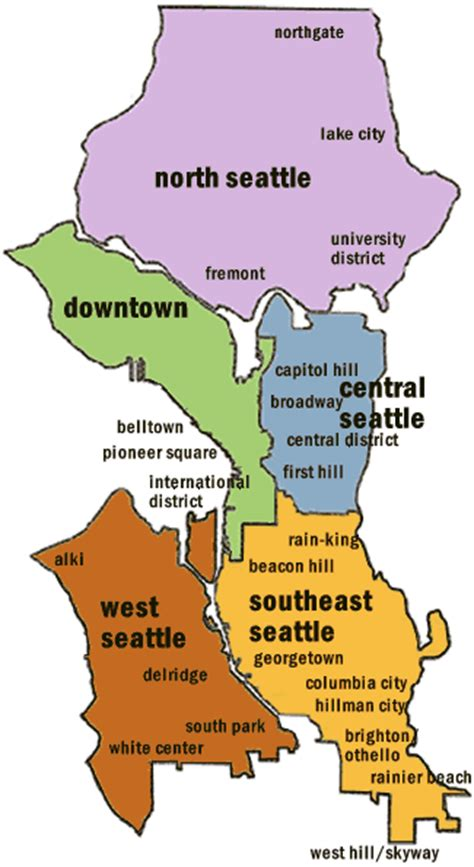 seattle map with neighborhoods image gallery seattle neighborhoods