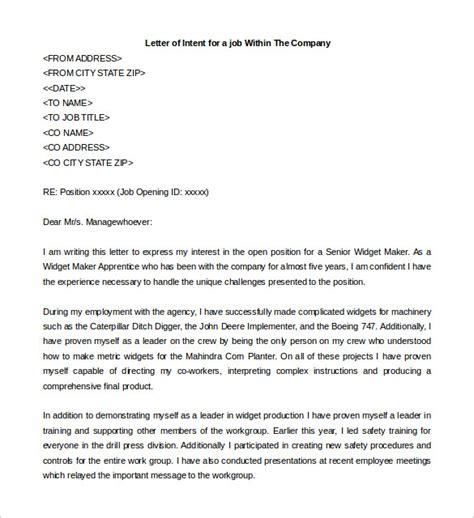 Letter Of Intent Template For Position Letter Of Intent For A 11 Free Word Pdf Documents