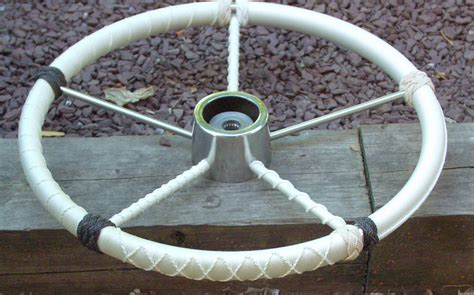 rope wrapping boat steering wheel flemished wheels