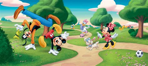mickey mouse wall murals wall mural wallpaper disney mickey mouse goofy minnie at the park photo 202 x 90 cm 2 21