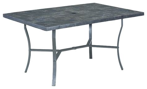 Slate Top Patio Table Veneer Slate Tile Top Dining Table Traditional Outdoor Dining Tables By Home Styles