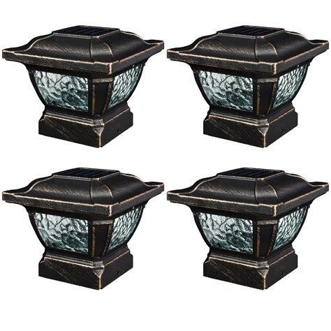 4 Pack Paradise Solar Metal Outdoor Garden 3 6 Quot Fence Post Fence Post Lights Outdoor