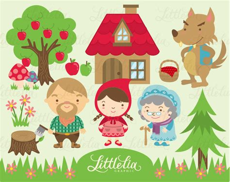 layout red riding hood australian scrapbook ideas lil red riding hood clipart set instant download 13008