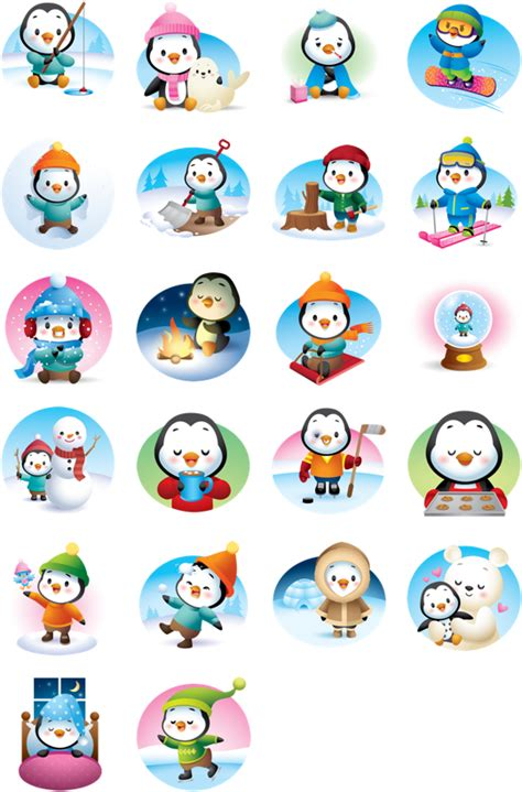 Stiker Pinguin waddles winter stickers