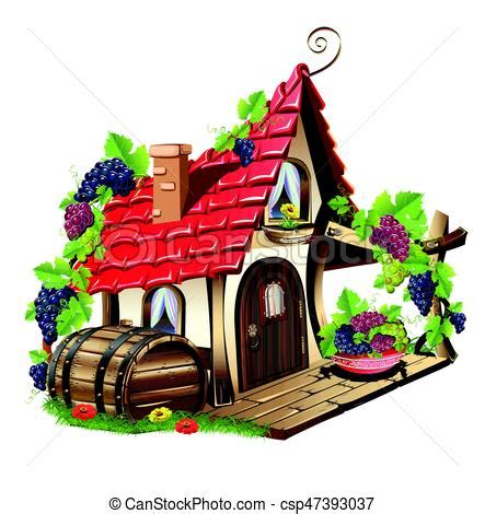little fairy house. fabulous home with grapes and barrel