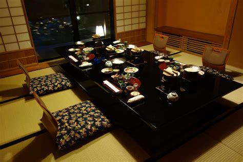 traditional japanese dinner table yukata miso tasty