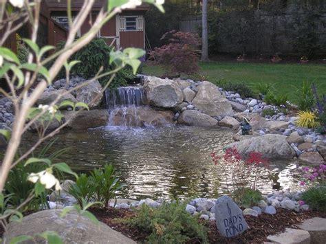 beautiful fish pond  waterfall  increase