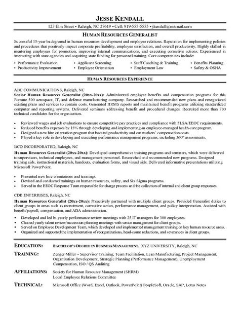 Resume Sles For Human Resources Generalist This Free Sle Was Provided By Aspirationsresume