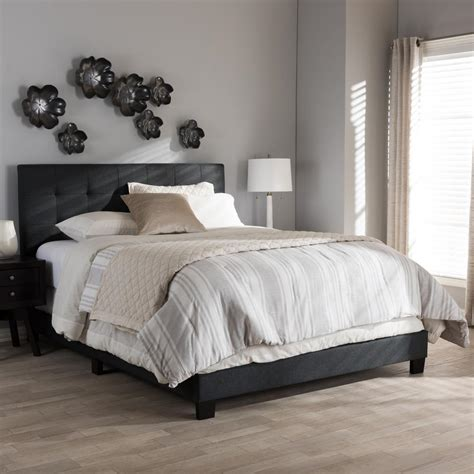 dark grey upholstered bed baxton studio brookfield contemporary dark gray fabric upholstered queen size bed 28862 7399 hd