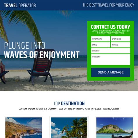 best landing page travel landing page design templates to capture leads for