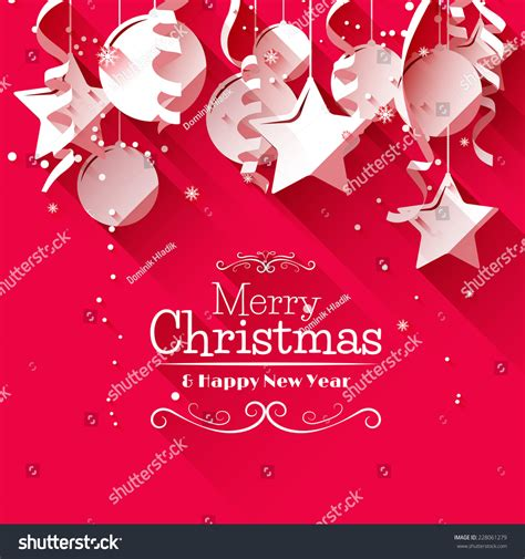 christmas cards shutterstock modern greeting card paper decorations stock vector 228061279