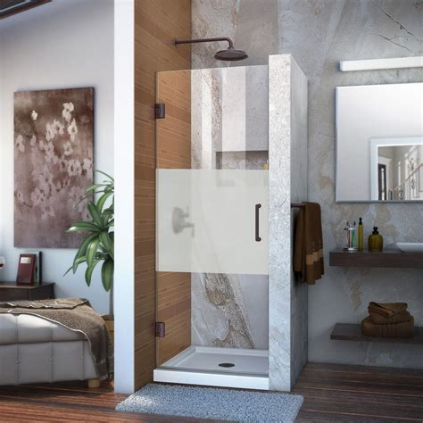 half glass shower doors dreamline unidoor 24 in x 72 in frameless hinged shower