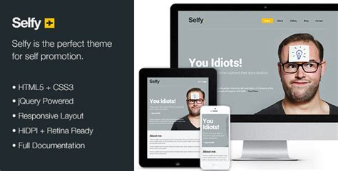 selfy personal site template by kennywilliams themeforest