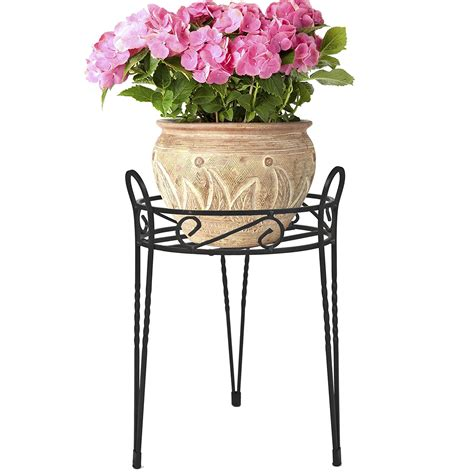 Outdoor Planter Stand by Black Metal Home Garden Decor Flower Pot Plant Planter