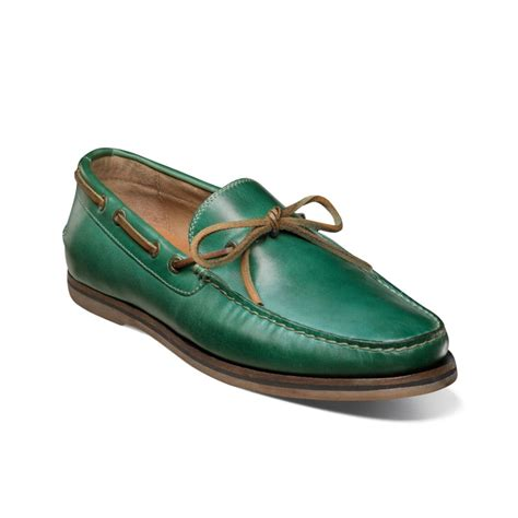 florsheim tienomite boat shoes in green for green