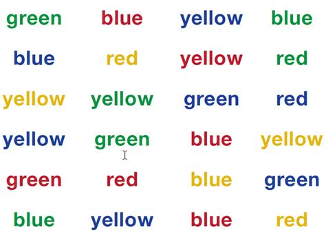 stroop color word test exles pictures to pin on