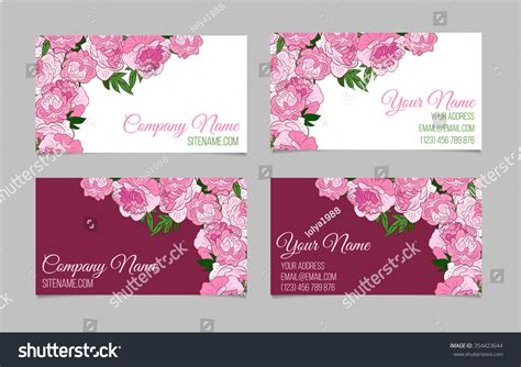 doublesided floral business card template peonies stock