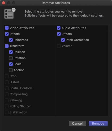 final cut pro uninstall final cut pro x remove or turn off effects and attributes