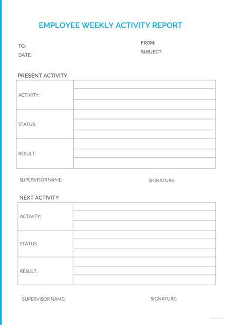 Employee Weekly Report employee report templates 23 free sle exle