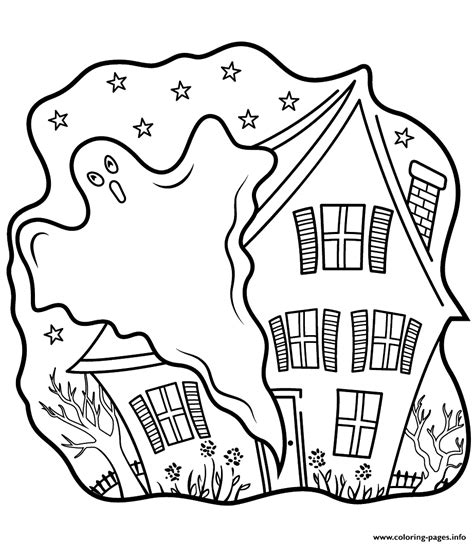 ghost haunter coloring page haunted houses with ghost halloween coloring pages printable