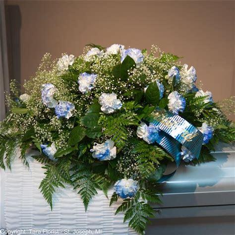 Blue Tipped Flower carnation casket spray tipped blue