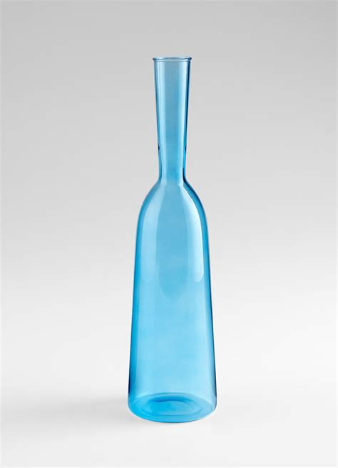small blue glass carafe vase by cyan design