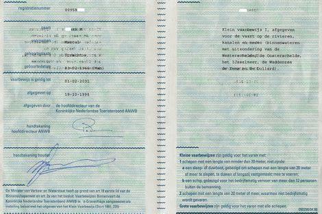 vaarbewijs welke leeftijd oude papieren klein vaarbewijs per 1 januari 2016 niet