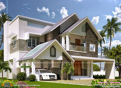Home Designs Australia Floor Plans by Modern Sloping Roof Mix Villa Exterior Kerala Home