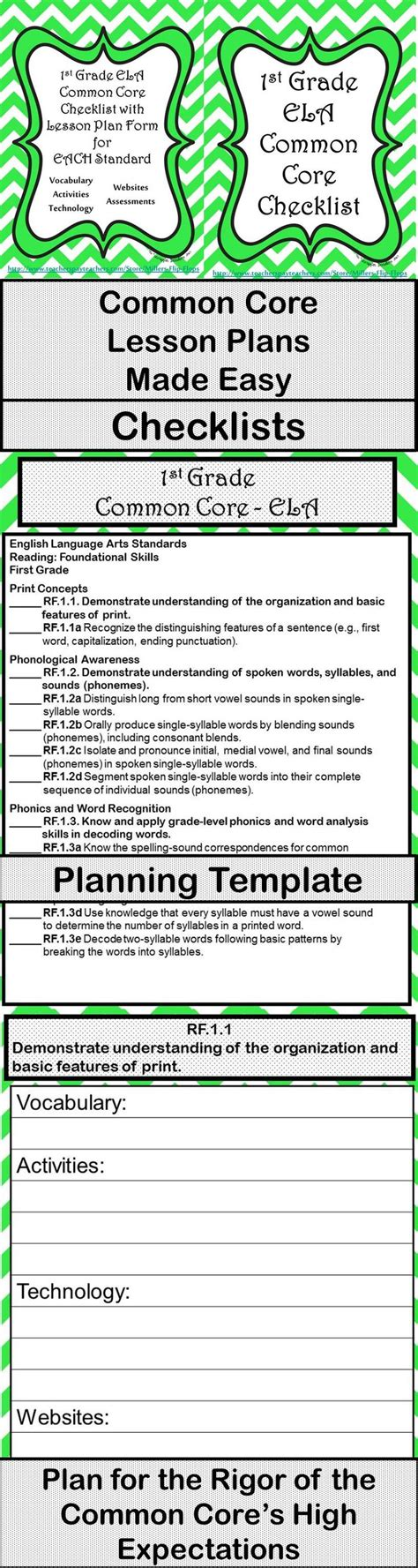 1st grade ela common core checklist lesson planning form